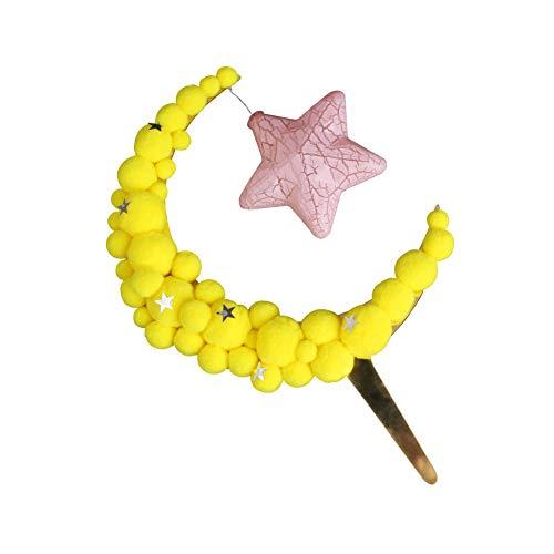 Xiton Kuchen Dekor Mond Haar-Ball-Geburtstags-Party-Bevorzugung DIY Fertigkeit Tabelle Ornament Kinder Spielzeug Fluffy Mond mit Stern-Licht 1pc (Mond-tabelle)