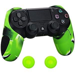 Pandaren® silikon dickere gälfte skin hülle Schutzhülle für PS4 controller (Tarnung grün) x 1 + thumb grips aufsätze x 2
