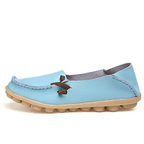 IFashion Damen Leder Mokassin Bootsschuhe Slip on Loafers Slipper Flats Low-top Erbsens Chuhe Hellblau
