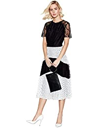 e46443f337 Debut Womens Black Spot and Lace Pleated Midi Dress 10