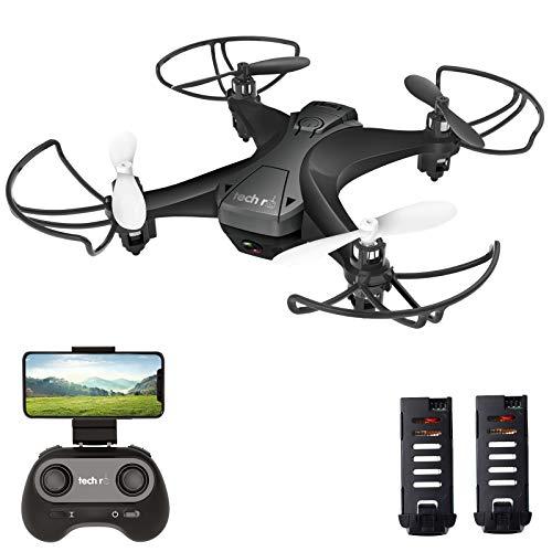 tech rc Mini Drone con Camera con Due Batterie Funzione di Sospensione Altitudine Un Pulsante di Decollo/ Atterraggio ,Modalità Senza Testa Protezioni 360°per Bambini e Principianti Buon Regalo