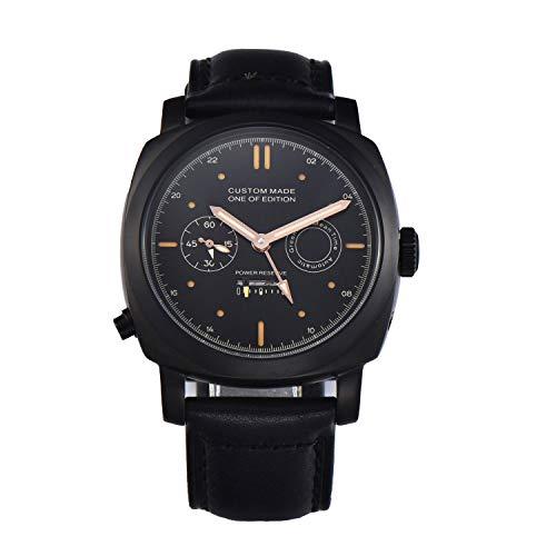 PARNIS-MM 9516 GMT Deutsche Edition Herrenuhr Automatik-Uhr 44mm PVD-Edelstahl Leder Mineralglas 5BAR Seagull ST25 Uhrwerk Gangreserve-Anzeige zweite Zeitzone