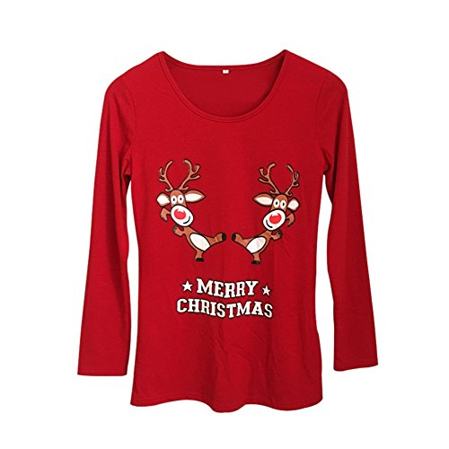 Yalatan Fashion Family Christmas Style Long Sleeved T-shirt Printed Cotton Tops (Shirt X 4l)
