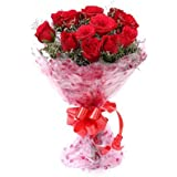 Floralbay Red Roses Bouquet Fresh Flowers in Cellophane Wrapping (Bunch of 8)