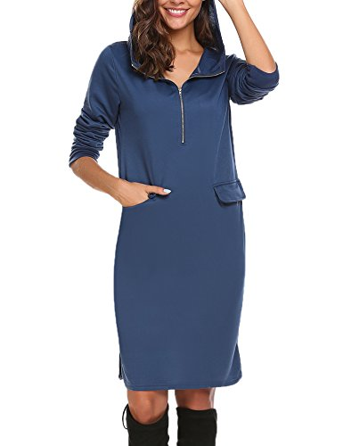 HOTOUCH Damen Mode Sweatshirt doppel-split hoodiepullover taschen pullover kleid Grau XL (Split Jumper)