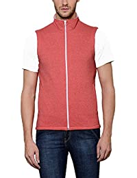 Scott Men's Red Melange Cotton Sleeveless Jacket