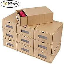 b1ffc57db2f99 MVPOWER Boîte à Chaussures en Papier Kraft Boîte de Rangement Boîte à  Chaussure avec Tiroir Boîte