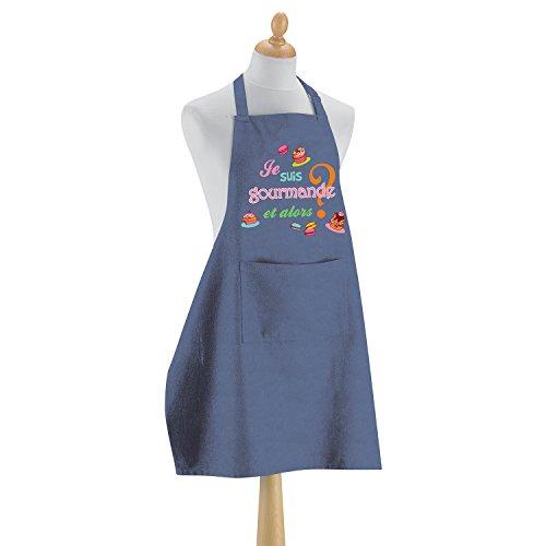 Tablier de cuisine Je suis gourmande jeans 90 x 72 cm Torchons & Bouchons