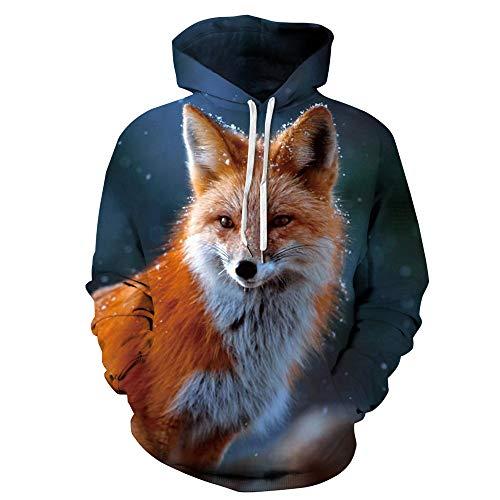 LUOYLYM Langärmliges Hemd Jacke Fuchs Digitaldruck Liebhaber tragen lose Kapuzenpullover Größe Herbst Baseballuniform QYXH120 XXXXL