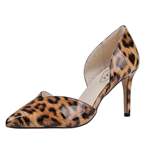 EKS Damen Spitze Middle Heels Pumps Leopard-Lackleder