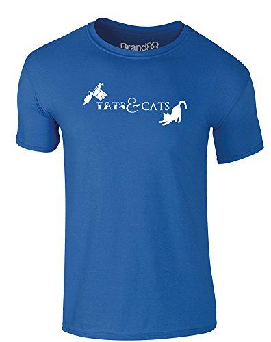 Brand88 - Tats & Cats, Erwachsene Gedrucktes T-Shirt Königsblau/Weiß