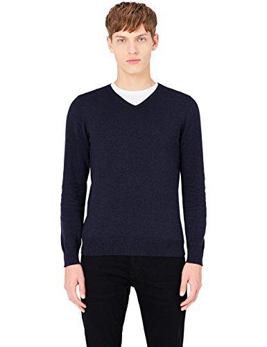 MERAKI Baumwoll-Pullover Herren mit V-Ausschnitt, Blau (Navy), Large