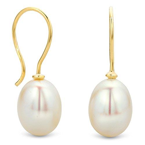 Orovi Damen Ohrringe Perlen Set Ohrstecker 9 Karat Gold Gelbgold (375) Schmuck (Hoop Perlen Ohrringe)