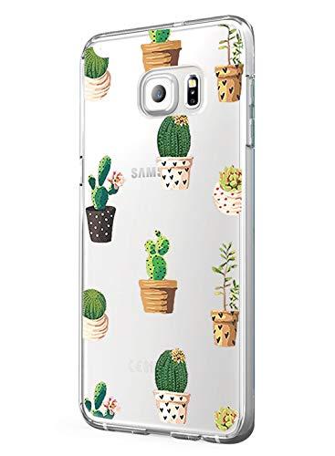 Galaxy S 7 Edge Clear Case Galaxy S7 Edge Cover Stoßdämpfung Rutschfest Cute Panda Animal Design TPU Bumper Ultra Slim Schutz Kratzfest Hülle für Samsung Galaxy S7 Edge Cactus 1 -