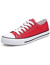Honeystore Unisex's Schnürung Leinwand Flache High-Cut Schuhe Erwachsene Sneaker Blau 41 EU
