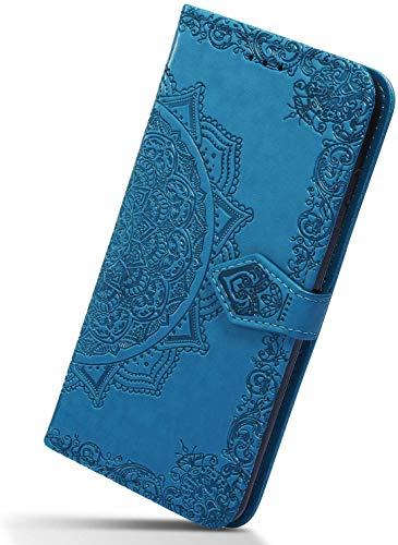 Herbests Kompatibel mit Huawei Y9 2018 Hülle Klapphülle Leder Tasche 3D Vintage Mandala Blume Muster Flip Schutzhülle Wallet Handyhülle Case Klappbar Magnetisch Etui mit Kartenfach,Blau