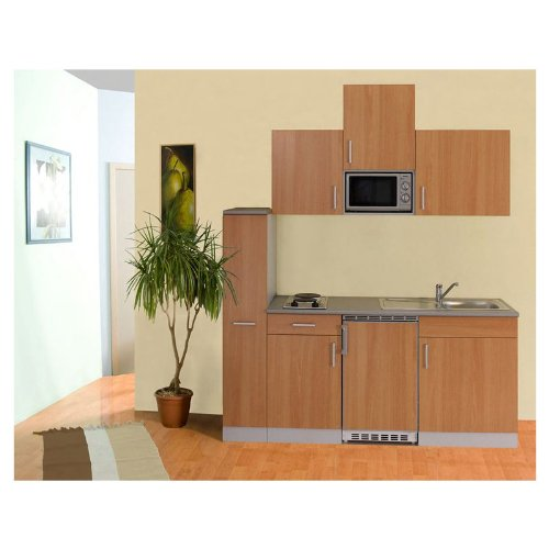 Mebasa MEBAKB195 Küche, Moderne Einbauküche, Miniküche, Küchenzeile 195 cm in Buche inkl. Mikrowelle, Kühlschrank, Duo Kochplatte und Edelstahlspüle