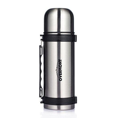 Overmont 1,1I Edelstahl Doppelwandig Vakuum Thermoskanne Thermosflasche Isolierflasche Silber für Auto Camping Wandern Picknick Reisen Outdoor Aktivitäten