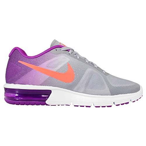 Nike Wmns Air Max Sequent, Chaussures de Running Femme WOLF GREY/HYPER ORANGE-VIVID PURPLE-WHITE