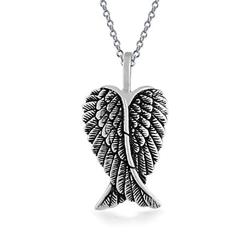 Guardian Angel Wing gefiederten Herz Anhänger Antiqued Sterling Silber gravierbaren Halskette Frauen Männer und ()