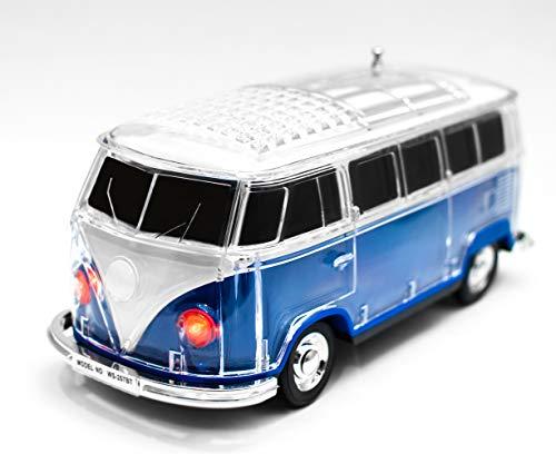 JeVx WS-267BT Altavoz Furgoneta Volkswagen T1 con Bluetooth USB para Pendrive Lector de Tarjetas de Memoria Micro SD TF Radio FM Portatil Reproductor Musica Mp3 VW (Azul)