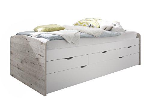 Stella Trading Nessi Bett, Holz, sandeiche / weiß, 206 x 96 x 64 cm