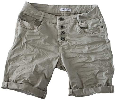 15 Farben Damen Jeans Bermuda Short by Eight2Nine Boyfriend Look tiefer Schritt Jeansbermuda mit Kontrastnähten Washed Kurze Hose (L, Pastell Green)