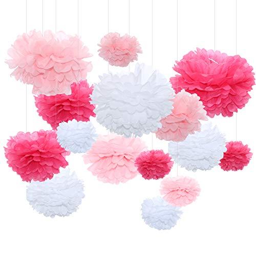 Himeland 15 Stück Set Seidenpapier Pompoms Blumen, Schöne hängende Pompons Dekoration Kit für Party, Geburtstag, Weihnachten Baby Duschen und Hochzeit