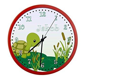 Wanduhr mit Wunsch - Namen für Kinderzimmer ; einzigartige Kinderuhr ; Rahmen rot ; Kinder Wanduhr ohne ticken mit oder ohne Namen auf Wunsch personalisiert ; Uhr - Motiv Schildkröte