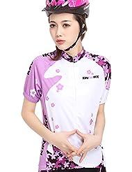 King Bike Mujeres Bike Riding Short Sleeve Sakura Ropa Ropa Ciclismo Breath Jersey absorción y pantalones, color morado, tamaño extra-large