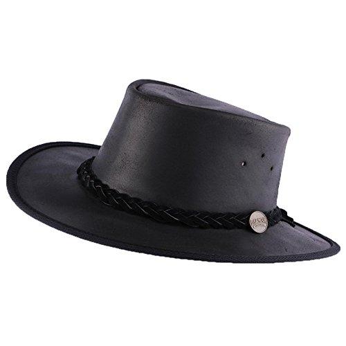 Barmah Hats - Chapeau Cuir Noir Brady Oil par Barmah Hats Homme / Femme, Schwarz, XL (Diver Hat)