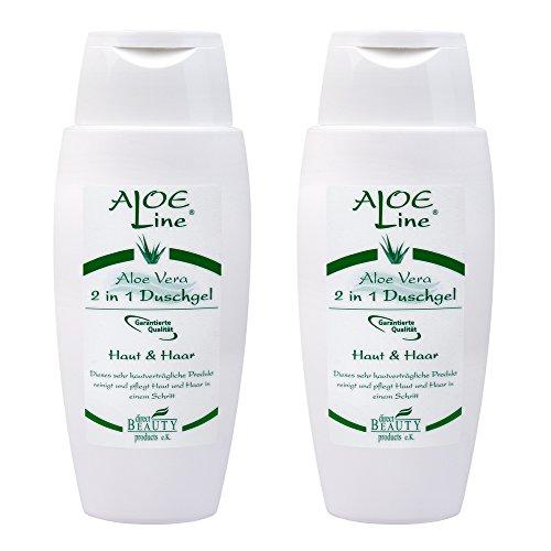 Aloe Vera 2 in 1 Duschgel & Shampoo (2x150ml) | Feuchtigkeitsversorgung für Haut und Haar | mit Panthenol, Meeressalz und Kokosfett | Reinigt, pflegt und schützt die Haut und Haare | Made in Germany