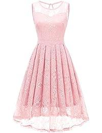 b74af23d9641 Gardenwed Damen Kleid Retro Ärmellos Kurz Brautjungfern Kleid Spitzenkleid  Abendkleider CocktailKleid Partykleid