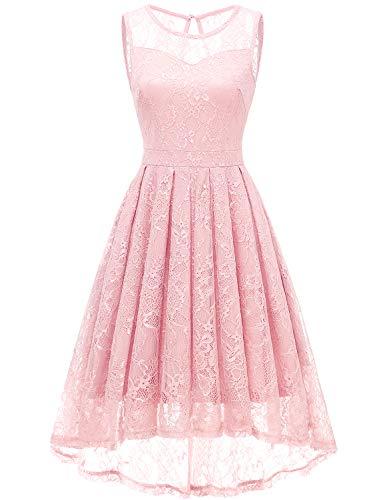 Gardenwed Damen Kleid Retro Ärmellos Kurz Brautjungfern Kleid Spitzenkleid Abendkleider CocktailKleid Partykleid Pink M (Frauen Rosa Für Kleider)