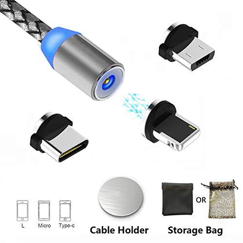 Magnetisches USB Kabel Micro USB Type C Lighting Magnet Ladekabel, Multi-3-in-1-Ladekabel mit LED für Android Phone und mehr, Keine Synchronisierungsdaten (3.3ft/1m, grau)