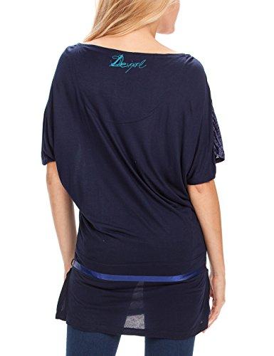 Desigual Carly - T-shirt - Col bateau - Manches courtes - Femme Bleu (5001)