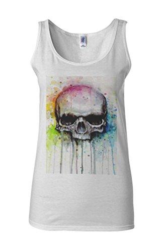 Art Drawing Skull Rainbow Novelty White Femme Women Tricot de Corps Tank Top Vest **Blanc