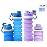 lingye Bottiglia d'Acqua Tazza Portatile all'aperto Bottiglie d'Acqua in Silicone Sport Pieghevole Materiale di Grado Medico Estremamente Portatile Freddo e Resistente al Calore 550ml*2 (Blue&Purple)
