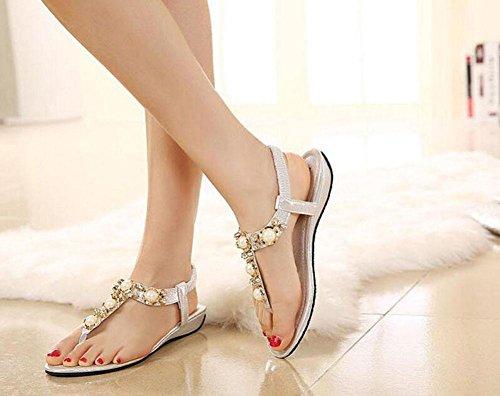 SHINIK Damen Open Toe Flip Flops College Style Hausschuhe Wulst Stein Kleine Wedge Sandalen Silver