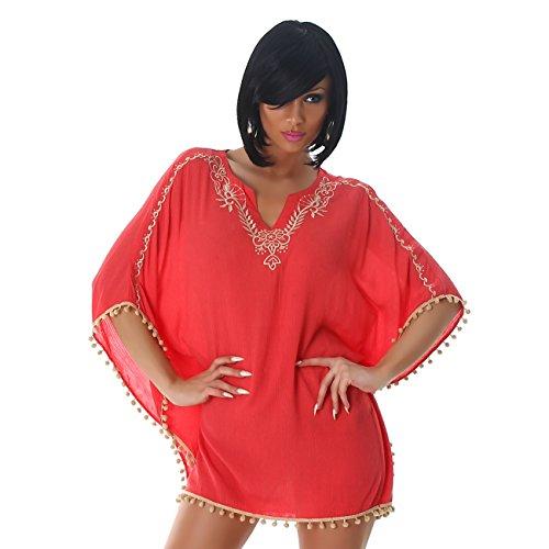 Delle donne Jela London tunica camicia camicetta senza maniche pipistrello poncho del Capo mini abito manica corta 42,44,46. Salmone