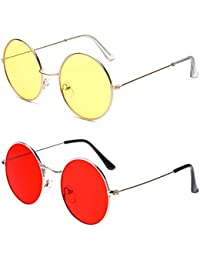 Phenomenal Round Unisex Sunglasses pack of 2(Yellow:Red)