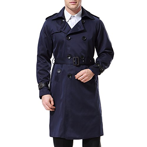 4ca1b65b6a094 aowofs Men's Trench Coat Long Double Breasted Slim Fit Overcoat Jacket  Military Trench Coat With Belt