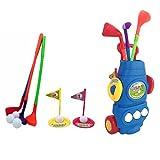 Jeu de golf pour enfants Club de golf Jeu de golf Mini golf Jeu de golf en plein air Jeu de golf pour enfants (3 clubs de golf + 3 balles + 2 trous + 2 drapeaux de golf + 1 chariot de golf) (Bleu)