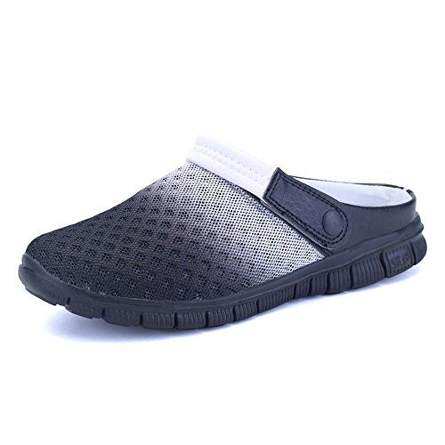 Xianv Scarpe Sandali Nuovi Traspiranti Pantofole Da Uomo In Mesh Illuminate Casual Da Esterno Slip On Scarpe Da Spiaggia Infradito Nere