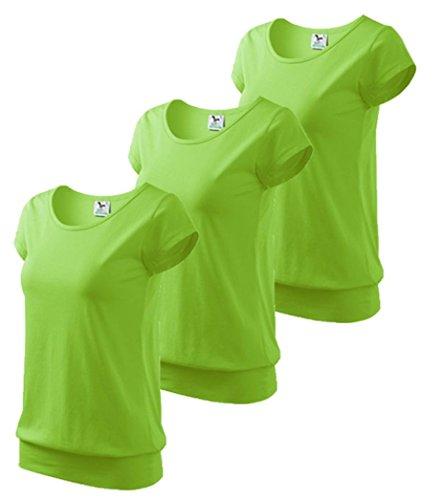 Dress-O-Mat Damen 3er Pack T-Shirt Shirt rundhals Bund Gr M apfel grün (T-shirt Frauen Apfel)