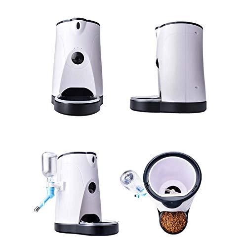 Cvthfyky Alimentador Inteligente para Mascotas APLICACIÓN móvil Alimentador de monitoreo Remoto Luz de alimentación infrarroja automática de un botón con un botón de alimentación