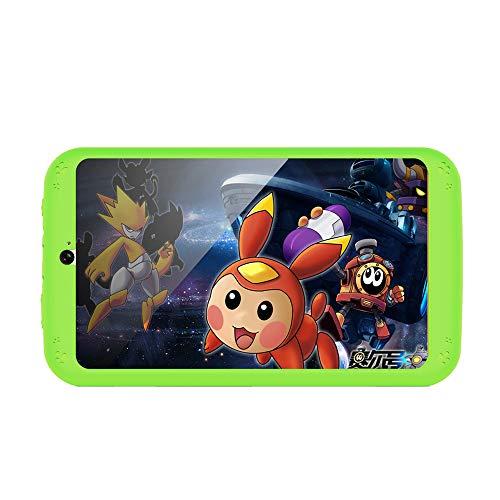 YUXIANG Kindertablette, 7-Zoll-Kinder Bildung Tablets Android-Display 1024P HD, 512M 8 GB, Dual-Kamera Bluetooth und WiFi mit Kid-Proof-Fall,Green (7in-green Tablet-fall)