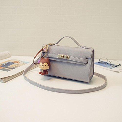 Bzline® Donne Messenger Bag Tracolla A Grandi Borse In Pelle Tote, 22cm * 8cm * 14 Centimetri Grigio