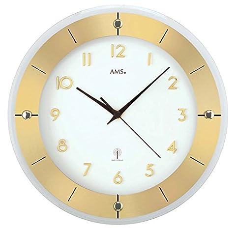 AMS 5850 Horloge murale radio-pilotée en métal au style moderne