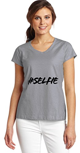 Hashtag Selfie Women's V-Neck T-Shirt XX-Large (Lady Bag Tote Girly)